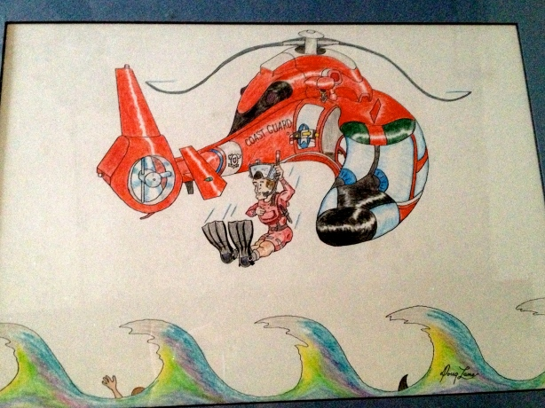 HH65 Coast Guard Helicopter Cartoon.