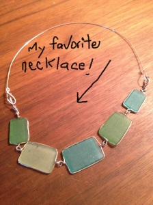 Beach glass necklace.