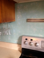 Kitchen backsplash before.
