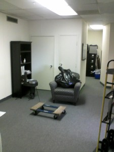 Office reception area, cleaning it out.