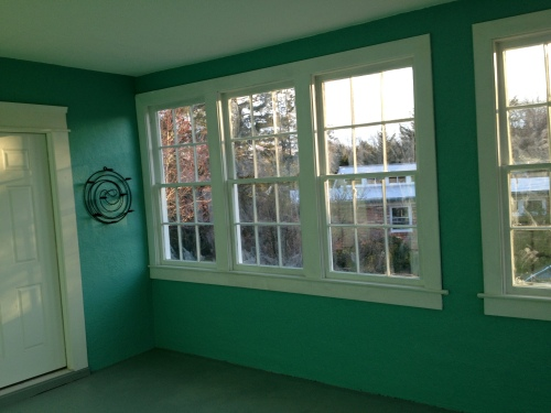 The porch with fresh paint.