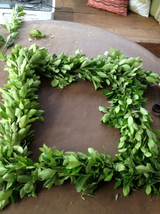 Wreath in process.