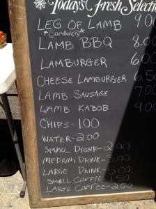 A menu board.