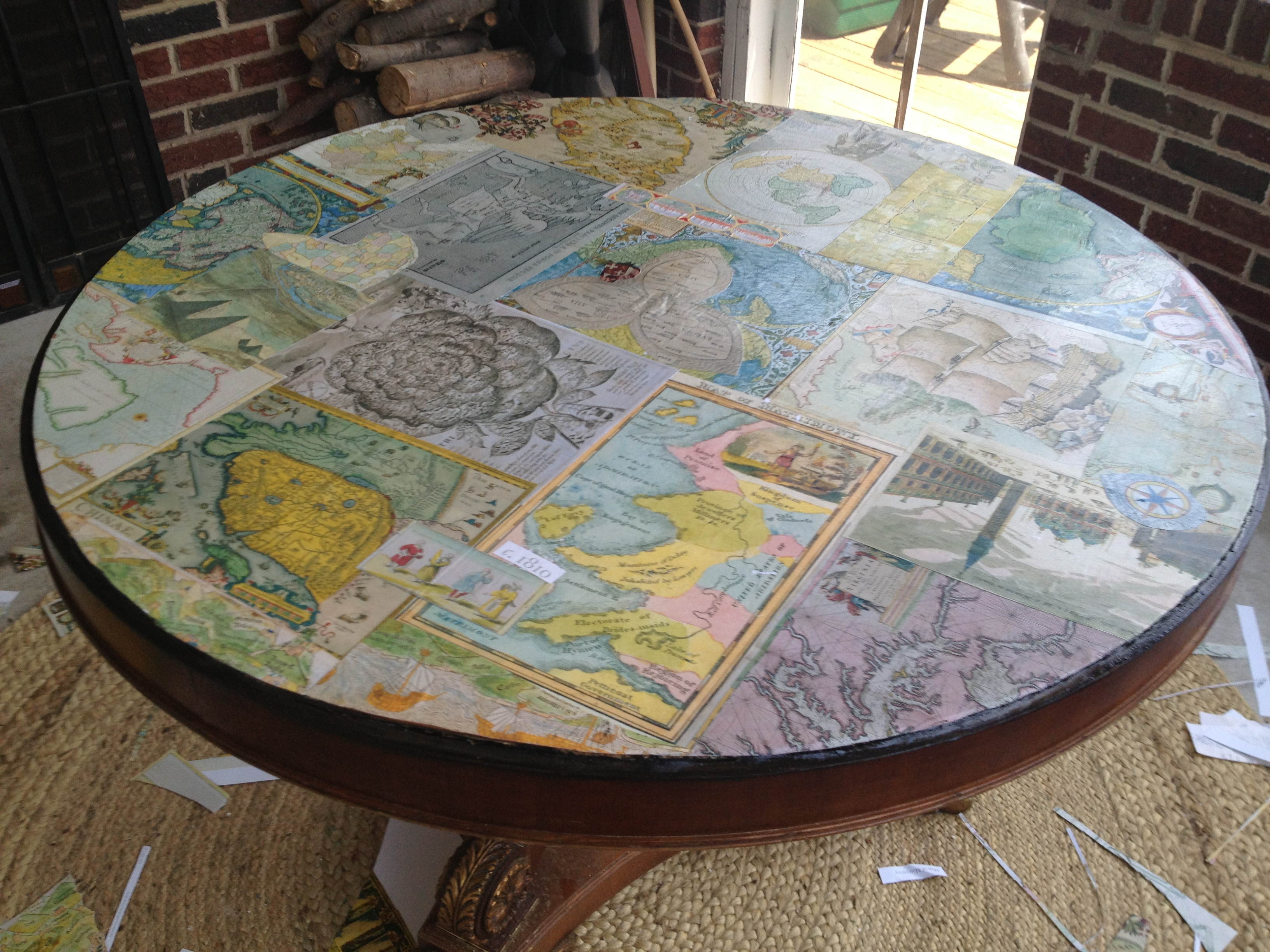 Mod Podge Map Table Simply Turquoise