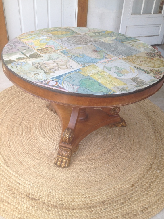 Mod Podge Map Table.