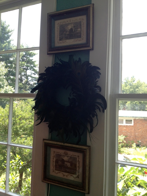 Peacock feather wreath.