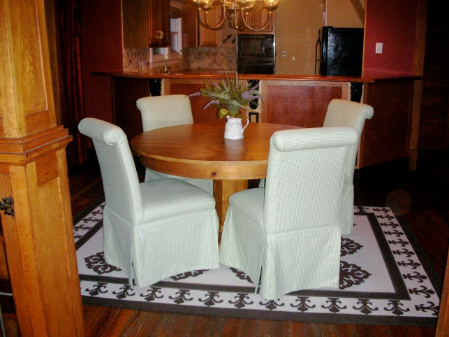 Parson's chairs in my New Jersey dining room.