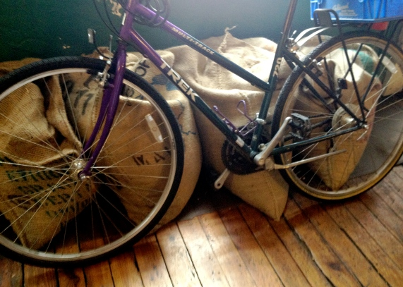 Purple Bike and Coffee Bags.