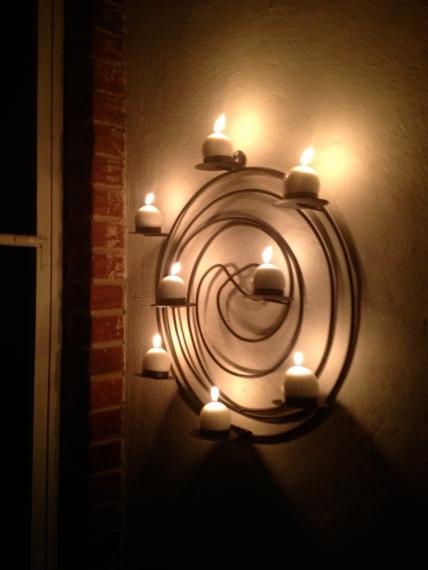 Candlelight glow.