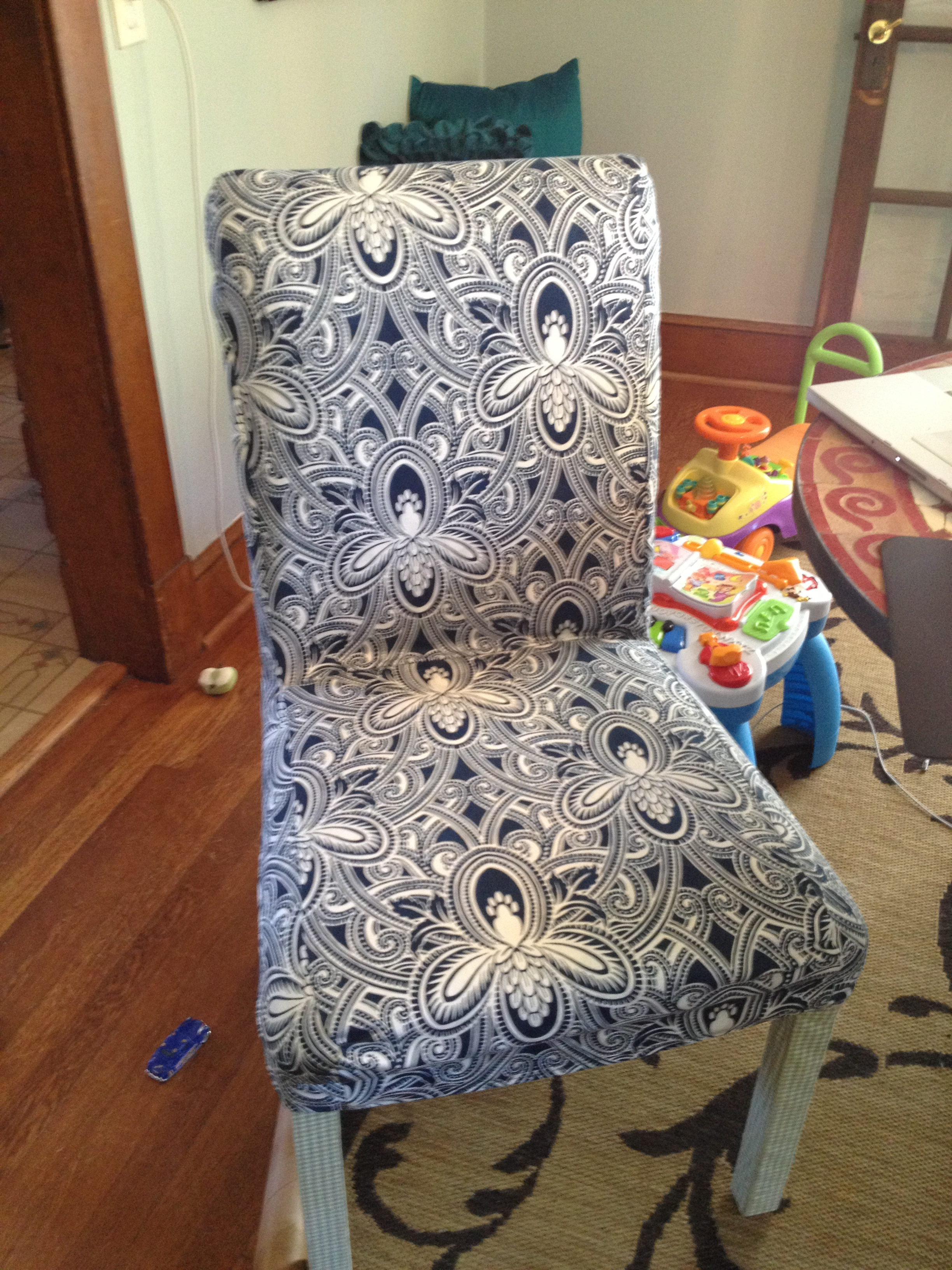 Short parsons chair slipcover Simply Turquoise