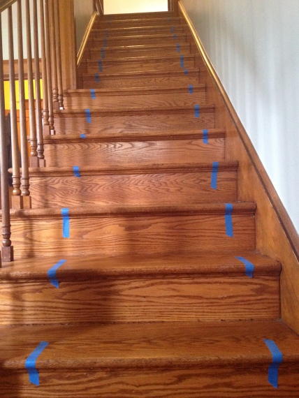 Use tape to mark the stairs.