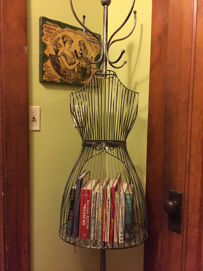 A wire dress form.