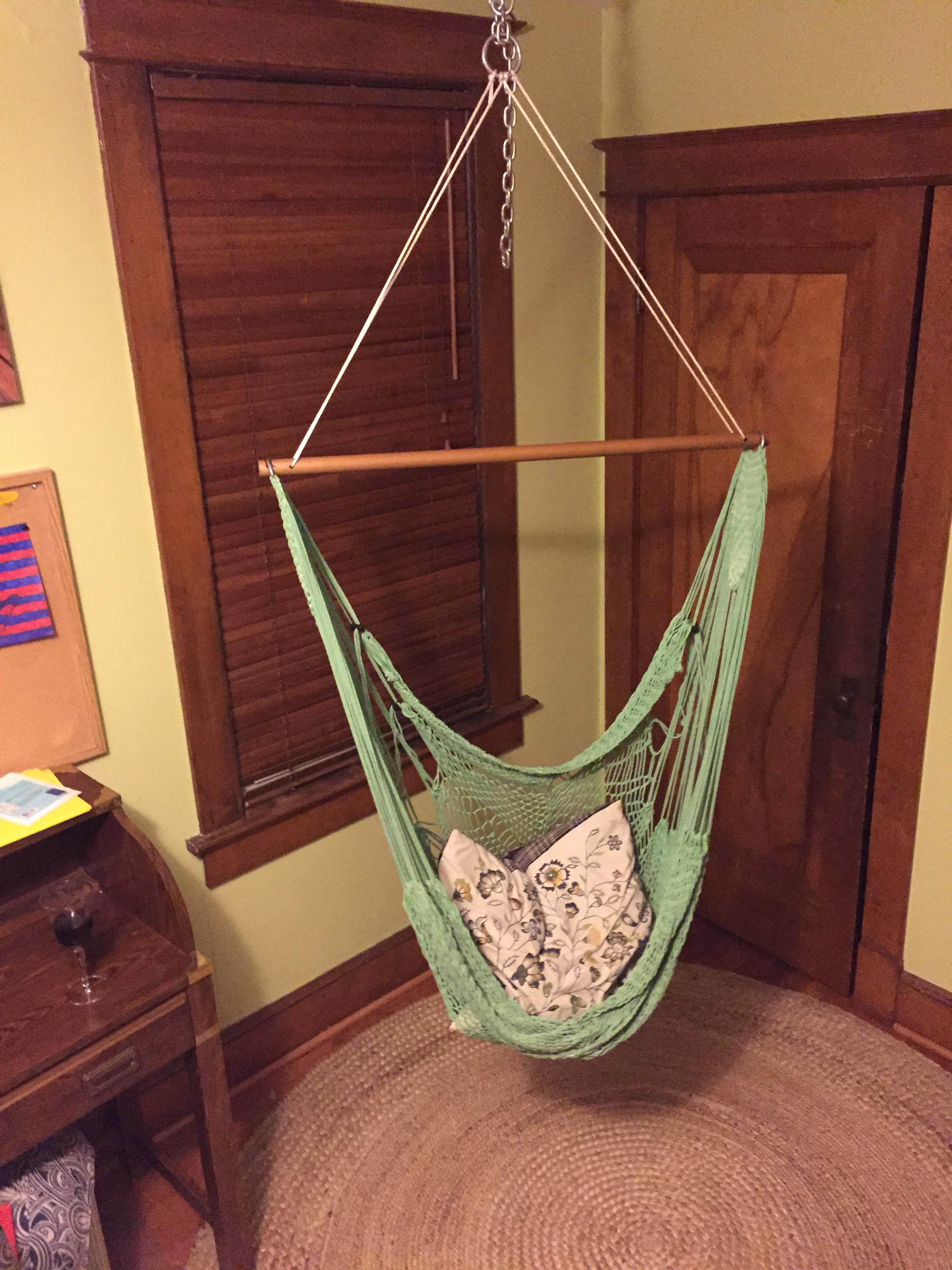 Hanging hammock chair.